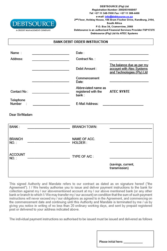 SAGE ATEC Debit Order Instruction - Monthly2016